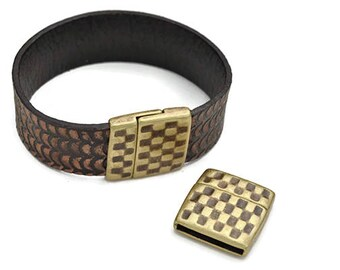 Hammered Magnetic 20MM Clasp - Flat Leather Clasp - Antique Brass  (Qty. 1)