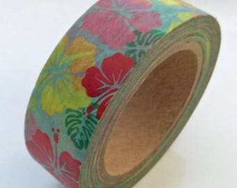 """SALE Tropical Floral Print Washi Tape """"Colorful Hibiscus""""  15mm x 10 meters"""