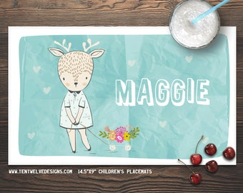 SWEET DEER Personalized Placemat for Kids - Children's Placemat, Personalized Kid's Gift, Fast Shipping - flowers, deer, hearts, sweet