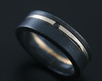 Black Diamond Tuxedo Ring--Black Wedding Band--Mens Black Diamond Ring--Flat Edge Black Diamond Band--Made to Size