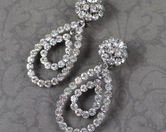 Vintage West Germany Rhinestone Double Hoop Drop Dangle Clip On Earrings