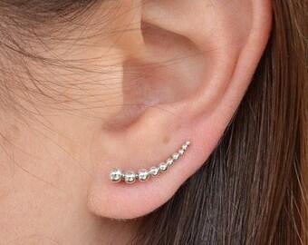 Silver Dot Ear Climber Earrings. 925 Silver. Item 400.