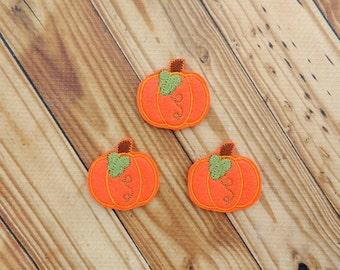 Pumpkin felties - Pumpkin Feltie - Fall felties - Orange pumpkin felties - Halloween felties - Glitter felties - Pumpkin embellishment