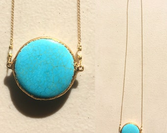 "17""long big round shape gold plated Howlite Turquoise necklace accented with Moonstones,14ct gold filled chains and clasp.attracts LOVE"