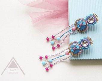 Blue pink stud earrings extra long bead fringe earrings statement stylish jewelry blue beadwork earrings trending jewellery fashion gifts
