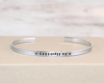 Personalized Aluminum Bracelet, Customized Cuff, Custom Jewelry, Narrow Cuff, Geeky Bracelet, Secret Message Jewelry