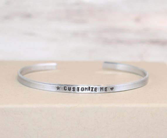 Personalized Aluminum Bracelet, Customized Cuff, Custom Jewelry, Narrow Cuff, Geeky Bracelet, Secret Message Jewelry