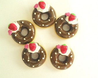 2pc or 5pc fake Chocolate donut with cherry on top cabochon 2 or 5 piece packs decoden flatback scrapbooking phone case supplies crafts UK