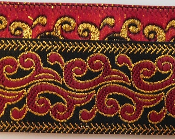 """Jacquard Ribbon Trim Tape~Red~Gold metallic on a black background~Fire~Dragons breath pattern~1"""" wide"""