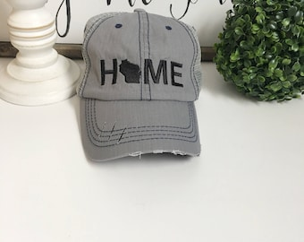 Wisconsin Home hat, womens hat, grey hat, home trucker hat, embroidered hat, teacher gift Christmas gift for mom, baseball cap wisconsin hat