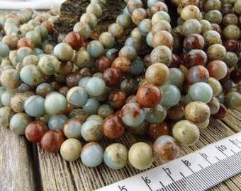 8mm Impression Jasper Beads, Sea Sediment Jasper, Aqua Terra Jasper, Blue Beads, Round Impression Jasper, 8.5-8.9mm, 15 inches, 43-46 Beads