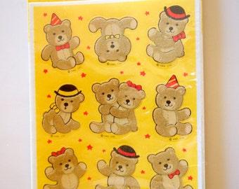 Teddy Bear Fuzzy Hallmark Stickers 2 Sheets New NIP Vintage 1983 Yellow