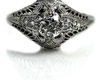 "Vintage Art Deco Engagement Ring Vintage 1930's Old European Cut Diamond Engagement Wedding Anniversary Ring Platinum ""The Sorella"""