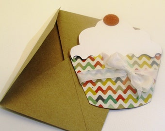 Happy Birthday Gift Card Holder - Cupcake Shaped Gift Card Holder - Handmade Birthday Greeting Card