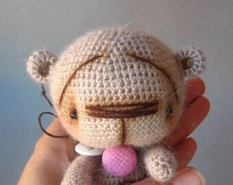 Gray Little Bear. Amigurumu. Crochet Teddy Bear.