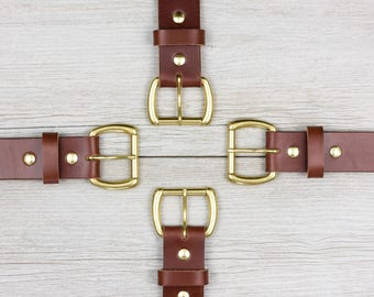 Full Grain Leather Belt // Mens Leather Belt // English Bridle // Veg Tanned // 1.5 inch Width // Best Leather Belt // Brown // No. 104