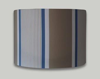 Blue Beige White Stripe drum lampshade lightshade lamp shade 20cm 25cm 30cm 35cm 40cm sizes available