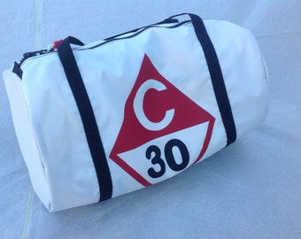 Catalina 30 duffel bag, sail duffel, zipper sail bag, weekend bag, regatta travel bag, sailing logo bag, gym bag, sailing gifts