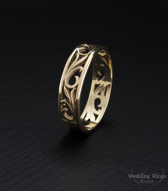 Nature wedding band Leaves wedding ring Vintage style