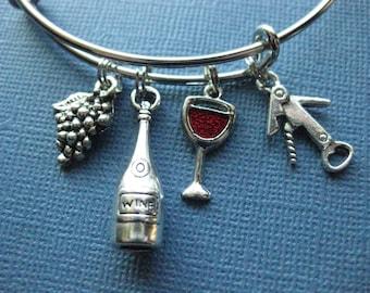 Wine Bangle - Wine Charm Bracelet - Wine Jewelry - Charm Bracelet - Bangle - Wine Lover - Wine Enthusiast -- B103