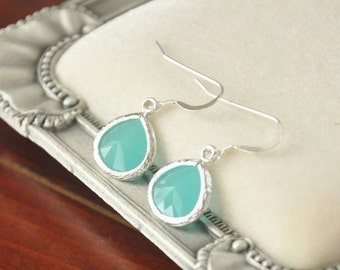 Silver Turquoise Blue Glass Earrings - Sterling Silver Ear Hooks, Simple Delicate, Everyday Earrings