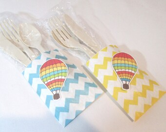 Hot Air Balloon Favors Hot 8 Air Balloon Favor Bags Birthday Favors Party Favors Baby Shower Favors Utensil Holders Utensil Pockets Rainbow