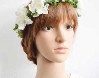 Ivory Bridal Flower Crown, white flower crown, spring wedding, flowergirl garland, floral crown, bridal headpiece, wedding flower crown