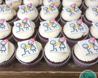 12 Engagement party fondant cupcake toppers - Engagement party - Engagement party ideas - Engagement cupcakes - Engagement fondant