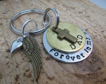 Memorial key chain,Dad memorial,Mom memorial,Grandpa memorial,loss of loved ones,death of dad,death of mom,keepsake jewelry