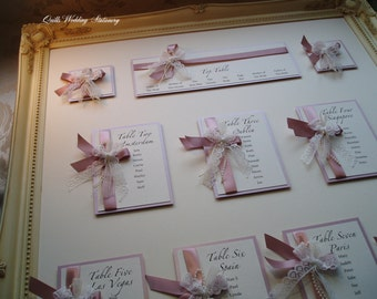 Wedding Table Plan.  Shabby Chic. Vintage Style Seating Plan.