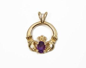 14K Gold Amethyst Claddagh Pendant, Yellow Gold Estate Jewelry, February Birthstone