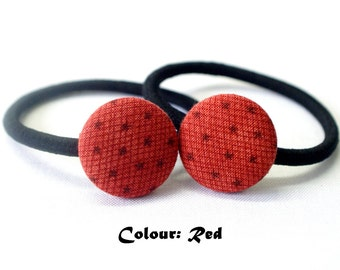 Christmas Stars Ponytail Holder ~ Fabric Button ~ Covered Button ~ Hairband ~ Elastic Band (Set of 2) - 22mm (0.87 inch)