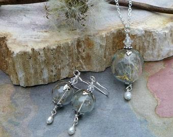 Dandelion Pearl Drop Necklace, Dandelion Earrings with Pearls- Real/Genuine Dandelion Flower Silver earrings,Wish Jewelry, Bridal Jewelry