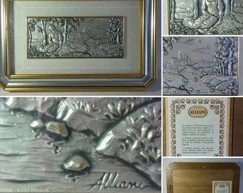 Silver Plated Italian Plaque, Italian Silver Art, 1960s Wall Plaques