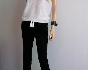 Vintage 1970s/1980s White String Vest Top