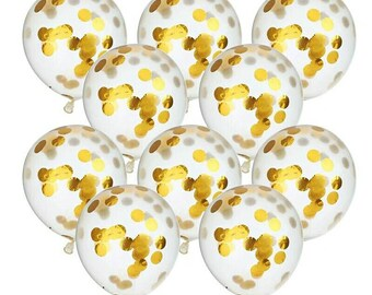 FREE SHIPPING!!! 10 Pack of 12 Inch Confetti Balloons Gold Circle Confetti Filled Latex Clear Party Balloon  Wedding & Engagement Gold