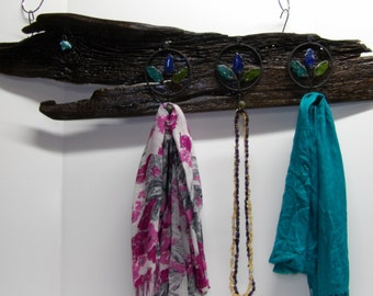 Scarf Hanger with Seaglass Hooks