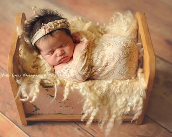 Stretch Lace Wrap Tan Beige Newborn Photography Prop Baby Swaddle