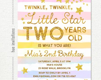 twinkle twinkle little star birthday invitation girl, rainbow 2nd birthday party invitation, gold glitter stars stripes, custom digital file