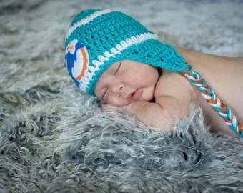 Crocheted Dolphins Inspired Team Colors or (Choose your team)  Football Helmet Baby Beanie/hat - Made to Order - Handmade by Me