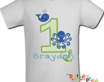 Preppy Ocean Birthday Party Shirt or bodysuit- Any Age and color scheme (3035)
