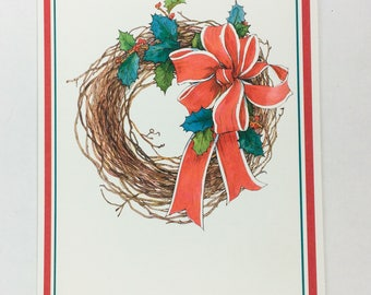 Unused Hallmark Red Ribbon and Holly Berry Wreath Greeting Card with Envelope