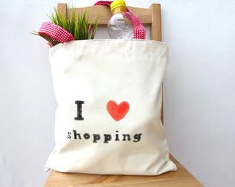Market bag,  strong shopping bag, grocery bag,  I love shopping