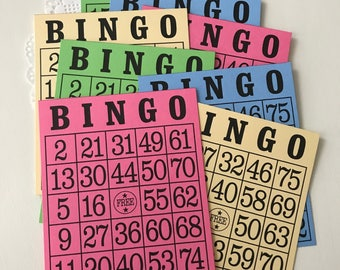 Vintage Bingo Cards - Retro Game Pieces - Vintage Paper Bingo - Vintage Games - Vintage Ephemera - Vintage Inspired Bingo Cards - Bingo Game