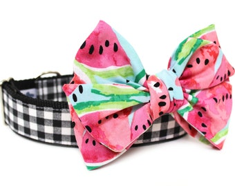 Dog Collar Bow Add-On Watermelon Bow for Dogs Matching Dog Bow Dog Collar Summer Dog Bow