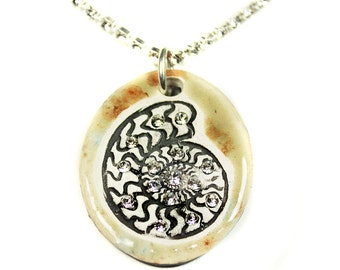 Ammonite Fossil Sparkle Surly Necklace with Swarovski Crystals
