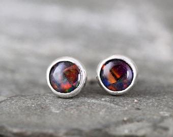 Black Mosaic Opal Earrings - Bezel Set Stud Pierced Earring - Sterling Silver Earrings - Made in Canada - Colorful Opal - October Birthstone