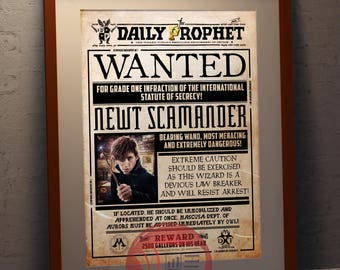 Daily Prophet - Newt Scamander  - Faux Wanted Poster