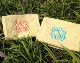 Monogram Cosmetic Bag- Waffle Weave Cosmetic Bag | Bridesmaid Gift | Graduation | Bridal Party | Traveling