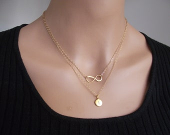 Infinity Love 24K Gold Necklace - one Initial, Personal Initial, Letter Necklace, Double Chain Necklace,  Eternity Circle, Infinity Link